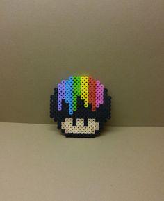 Dripping rainbow 1 up mario mushroom perler bead by EternallCrafts on Etsy https://www.etsy.com/listing/247150178/dripping-rainbow-1-up-mario-mushroom