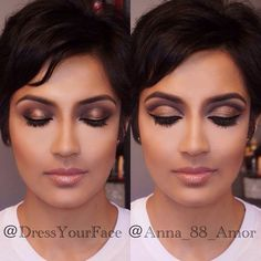 here I'm showcasing two different looks that we made side by side using the same exact colors but just with different placement. On the left is a 3D smokey eye and on the right is a cut crease, both using golds and dark browns. We used @anastasiabeverlyhills shadows, @lagirlcosmetics fine line liquid liner, @lancomeusa Hypnose mascara, @anastasiabeverlyhills Brunette Brow Wiz on brows, and @whiteninglightning lipgloss in Nude