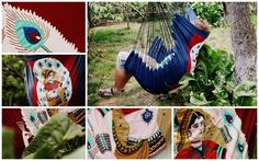 Deep blue hanging hammock chair decorated with white peacock feathers and a Hindu woman. $50.00, via Etsy.