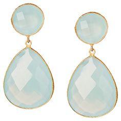 18K Gold Clad Aqua Chalcedony Double Drop Earrings