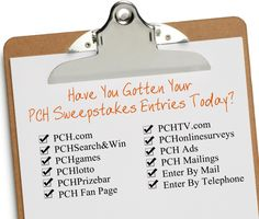 """People always ask us: """"How can I enter to win the PCH Sweepstakes? And how can I get the MOST SuperPrize entries possible?"""" My answer always is: """"You'd better sit down"""". You see, there's not 1, not 2, but SO many ways to enter to win the PCH Sweepstakes. And with a life-changing fortune at [read more...]"""