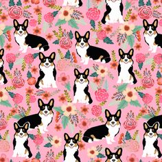 corgi tri colored cute dog pink florals flowers corgi best corgi fabric fabric by petfriendly on Spoonflower - custom fabric