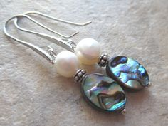 Abalone Earrings with White Freshwater Pearls by LeanneDesigns, $10.00 Shop Sale, White Freshwater Pearl, Abalone Shell, Fresh Water, Beading, Shells, Pearl Earrings, Pearls, Trending Outfits
