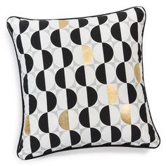 Housse de coussin en coton noir/blanc 40 x 40 cm DOTTY