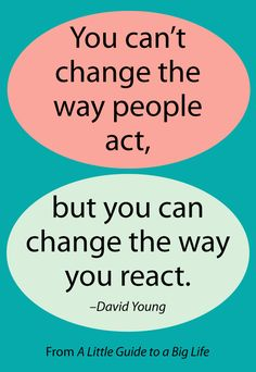 You can't change the way people act, but you can change the way you react. -David Young #ALittleGuide