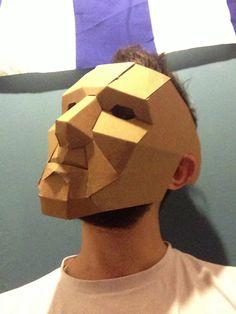 Cardboard mask on Behance Cardboard Costume, Cardboard Mask, Cardboard Sculpture, Paper Mache Sculpture, Cardboard Paper, Cardboard Crafts, Sculpture Art, Robot Mask, Cool Masks