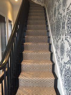 Transitional Design: This sophisticated look is the perfect balance between traditional elegance and contemporary cottage for harmony in your home. Home Carpet, New Carpet, Beige Carpet, Staircase Runner, Stair Runners, White Staircase, Buy Carpet Online, Narrow Hallway Decorating, Staircase Remodel