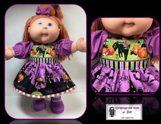 """Doll Clothes to fit Cabbage Patch Kids ....   Halloween Dress Outfit (Dress, Panties, Socks, and Hair Bows) Fits  16""""....  ................  EBAY and ETSY shop name:  hudson77ma  FACEBOOK:  Originals for Kids by Sue AKA hudson77ma"""
