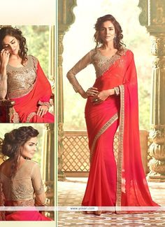 Radiant Red Embroidered Work Traditional  Saree Model: YOSAR7829
