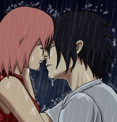 SasuSaku: Kiss in the Rain Illustration