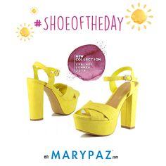 Hoy miércoles os mostramos nuestro #SHOEOFTHEDAY , la sandalia perfecta para estos días de primavera ¡ Disponible en 6 colores diferentes, elige tu favorita ya !  ¡ Descubre la NUEVA WEB de MARYPAZ con una imagen fresca y renovada !  #shoeoftheday   Compra ya esta SANDALIA en color amarillo haciendo clic aquí ►  http://www.marypaz.com/sandalia-de-tacon-y-plataforma-cruzada-0424216v731-74201.html