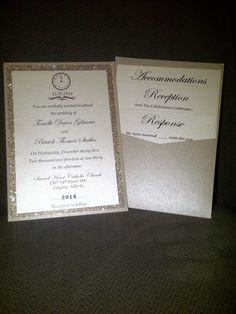 Gold Sparkly New Years Eve Wedding Invitation.