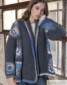 pattern knit crochet woman jacket autumn winter katia 6051 45 g Cardigan Au Crochet, Crochet Coat, Crochet Jacket, Crochet Cardigan, Knit Jacket, Crochet Clothes, Jumpsuit Pattern, Jacket Pattern, Free Knitting Patterns For Women