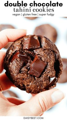 If you love chocolate, don't sleep on these double chocolate tahini cookies! They're so soft, fudgy, and most importantly, packed with rich chocolate flavor. Desserts Crus, Raw Desserts, Healthy Dessert Recipes, Baking Recipes, Vegan Recipes, Cookie Recipes, Chocolate Chip Cookies, Chocolate Flavors, Vegan Chocolate