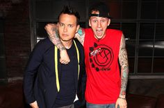 March 20: Mark Hoppus of Blink 182 and Rapper Machine Gun Kelly visits 'Hoppus On Music' at fuse Studios in New York City.