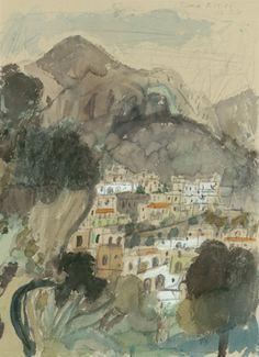 'Positano' (1953) by German artist Max Peiffer Watenphul (1896-1976). Pencil, watercolor, and opaque white, 58.5 x 42.5 cm. collection: Staatliche Graphische Sammlung, Munich. via the artist's site