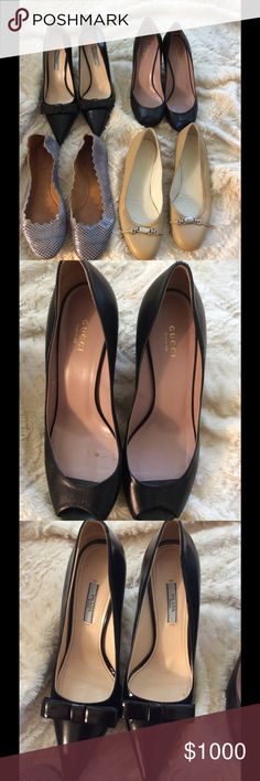 Gucci, Prada, Chloe Shoes 100% authentic. The condition are very good. Gucci, Prada,Chloe.. The sizes for nude Gucci kit toe heel 39 1/2.  The black Prada Bow Heels 40. The black Gucci Platform 39 1/2 . The Chloe snake skin flat 39 1/2. All are beautiful. All have no boxes any more. Just shoes. Give me an offer. If you have  high end designer bags like Gucci, Louis Vuitton... I will try to trade. All are size 9 and 9.5. Gucci Shoes Heels