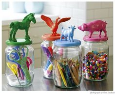 Keeping kids crafts organized diytake old glass jars, super glue on some cute doodad and spray paint the tops all the same color-clever and cute-do the for Bridget's pearled beads |Pinned from PinTo for iPad|