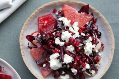 Red salad with grapefruit, pomegranate seeds and feta...must try this!
