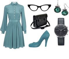 """""""Serious Schoolteacher (in teal)"""" by frogchickk on Polyvore"""