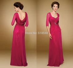 vestido de noiva exquisite half sleeve prom dress red chiffon long mother of the birde dresses for sale 2015