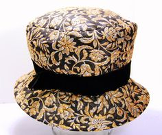 1960s Vintage Silver and Gold on Black Floral by siriuslyred, $33.00