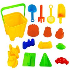15 Piece Sand Castle Building Kit - Beach Toys Set with Large Bucket, Rake, Shovels, Molds and More. 15 Piece Sand Castle Building Kit with Molds and tools. Includes Castle-Shaped Bucket, Castle Molds, Rake, Trowels, Sifter, Shovels and More!. Make A Castle Kingdom With 7 Unique Castle Molds. Also Includes Various Sand Molds and Tools for Sand Play. All pieces are made with high quality, durable plastic to ensure they'll last you and your family a long, long time.