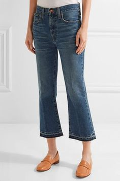 Madewell - Cropped Frayed Mid-rise Flared Jeans - Dark denim - 24