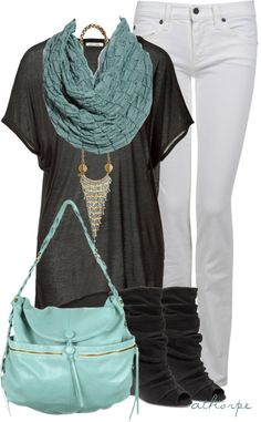 I like most of this. I think I'd like a darker colored jeans and no necklace.