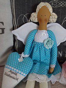 Bábiky - Tyrkysový anjelik - 6352749_ Handmade Dolls, Baby Car Seats, Decorations, Children, Young Children, Boys, Dekoration, Kids, Ornaments