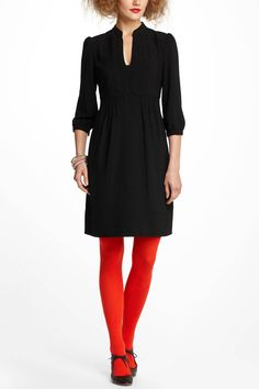 I love this, but could I not wear the red tights with this very cute dress. Cala could! Maybe patterned hose for me.                   Leona Tunic Dress / Anthropologie.com {omg want!}
