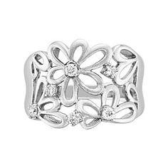 2767de054 Daisy Flower And Diamond Ring April Birthstone In Sterling Silver # Free  Stud Earrings