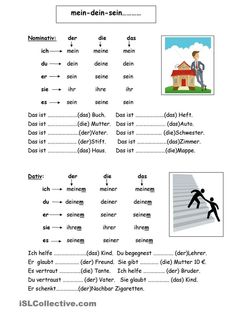 Here are the possessive pronouns in all persons and common cases (N … - Education Science Study German, Learn German, German Grammar, German Words, German Language Learning, Language Study, German Resources, Deutsch Language, School Worksheets