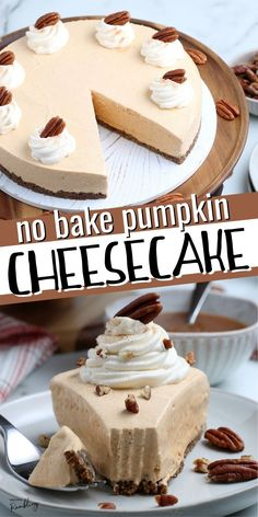 This no bake pumpkin cheesecake recipe is the perfect Thanksgiving dessert! A gingersnap crust is topped with rich and creamy pumpkin cheesecake filling for a delicious dessert. This recipe uses cool whip and sweetened condensed milk to make a simple no bake dessert. Fall Dessert Recipes, Fall Desserts, No Bake Desserts, Fall Recipes, Sweet Recipes, Delicious Desserts, Sweet Condensed Milk, 3 Ingredient Desserts, No Bake Pumpkin Cheesecake