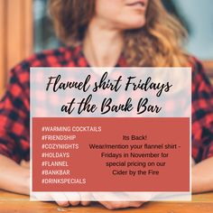 Flannel and November - my favorite Drink Specials, Wine And Beer, Rehearsal Dinners, Flannel, November, Cocktails, Bar, November Born, Craft Cocktails