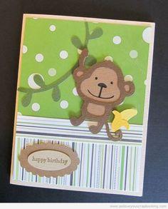 Monkey Birthday Cricut Card Using Create A Critter Cricut Cartridge