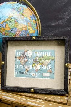 Travel Quote shadow box gift - perfect for a travel themed bridal shower!