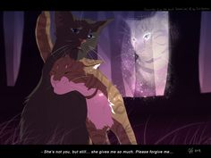 She's not you... by Mizu-no-Akira on deviantART. Crowfeather and Leafpool. The ghost is Feathertail.