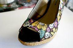painted wedge sandal