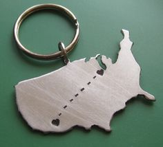Love this so much. Yes yes yes. :: Custom Long Distance Love Keychain by sudlow on Etsy