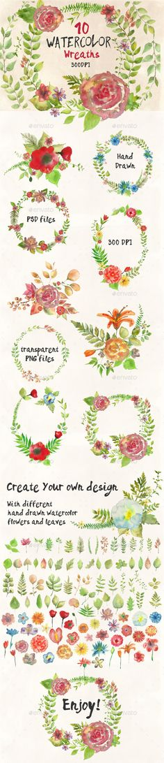 Watercolor Wreathes and Bouquets - Miscellaneous Illustrations