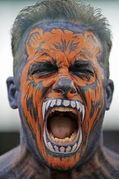 Still haven't decided on a Halloween costume? Well, if you're dressing as a Chicago Bears superfan, beyond your gear you'll need a little bit of face paint and a whole lot of team spirit to top this Bears-inspired costume. (AP Photo/Chris Carlson)