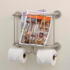 Beacon Wall Mount Magazine Rack And Double Toilet Tissue Holder In Brushed…