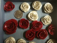 Polyclay roses, I'll be making so many more of these.