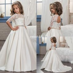 2017 Custom Princess Half Sleeve Holy Lace White Communion Dress Little Girls Beaded Pearls Party Dress Kids Wedding Flower Girls Dresses Flower Girl Dresses Cheap First Communion Dresses Online with $95.0/Piece on Sweet-life's Store | DHgate.com
