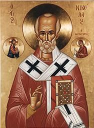 N is for St. Nicholas, 4th c Greek bishop of Myra, known for his secret generosity to those in need, the basis of modern St. Nick/Santa Claus