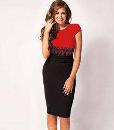 Red Sleeveless Contrast Black Lace Dress - Fashion Clothing, Latest Street Fashion At Abaday.com
