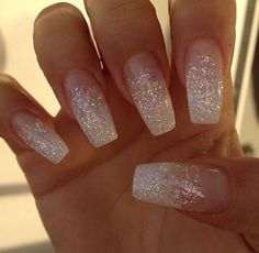 70 top bridal nails art designs for next year glitter wedding nails, white sparkle nails White Glitter Nails, Metallic Nails, Glitter Wedding Nails, Nails Acrylic Coffin Glitter, Wedding Nails For Bride, Silver Sparkle Nails, Sparkly Nails, Wedding Acrylic Nails, Wedding Manicure