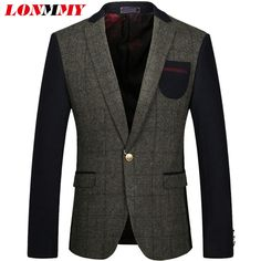 LONMMY 3XL Plaid mens blazer jacket Fashion Outerwear Wool woolen suit mens velvet blazers wedding dress windbreaker 2018 New