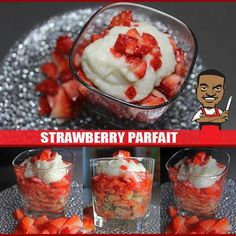 (Kamut, Perrier Water, Agave, Clove, Key Lime juice, Sea Salt, Sour Sop, Young Coconut jelly, Fresh Strawberries) 1 cup Kamut Flout 3/4 cup Perrier Water  1/4 cup Agave 1 pinch Clove 1 pinch Sea Salt - Mix into a barely pour-able batter into mini loaf pan or tea cake pan - Bake at 350 for 20 to 30 mins depending on your pan.  - Chop the cake up into cubes and layer the bottom of the parfait glass strawberries w. ginger powder, agave, key lime juice....